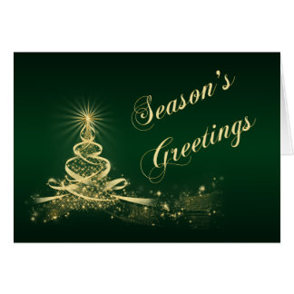 Green, Gold Lighted Tree Corporate Holiday Card Greeting Card
