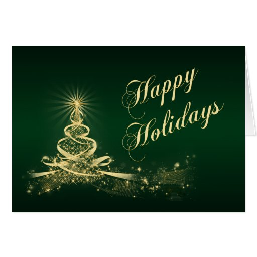 Green, Gold Lighted Tree Corporate Holiday Card Greeting Cards