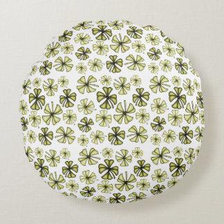 Green Gold Lucky Shamrock Clover Round Cushion
