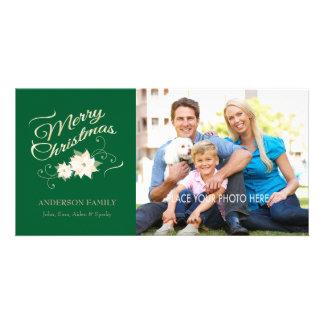 Green & Gold Merry Christmas & White Poinsettias Card