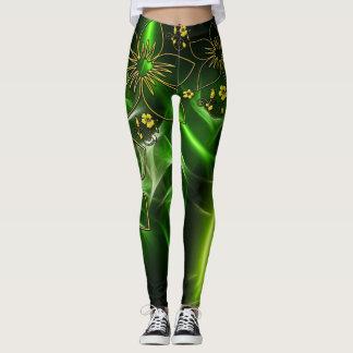 Green Gold Metallic Leggins Leggings