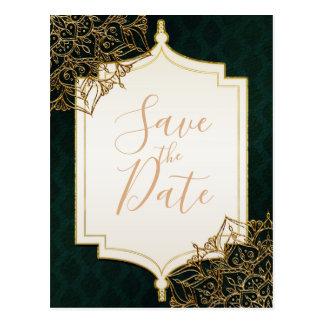 Green & Gold Moroccan Arabian Nights Save the Date Postcard