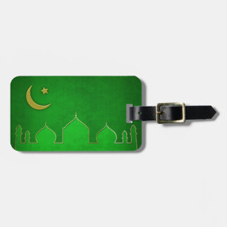 Green Gold Mosque Moon Star - Luggage Tag