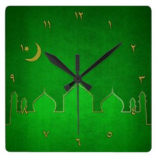 Green Gold Mosque Moon Star - Wall Clock