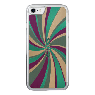 Green Gold Music Clef Swirl Carved iPhone 7 Case