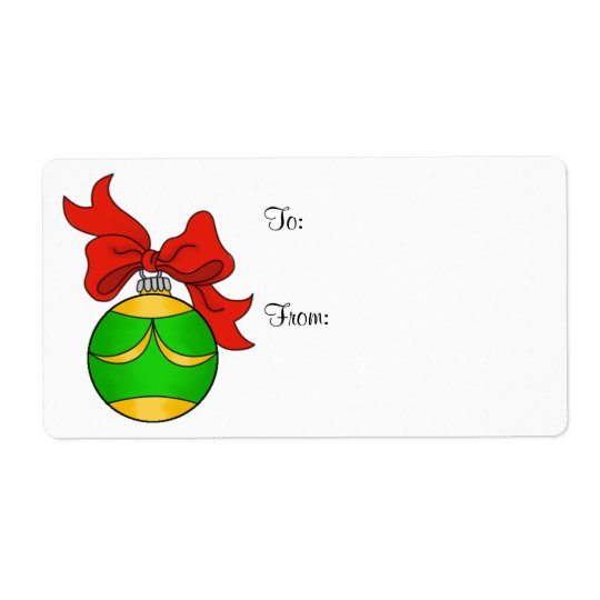 Green & Gold Ornament - Gift Label - Large Shipping Label