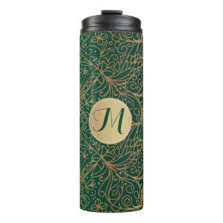 Green & Gold Ornate Decorative Pattern & Monogram Thermal Tumbler
