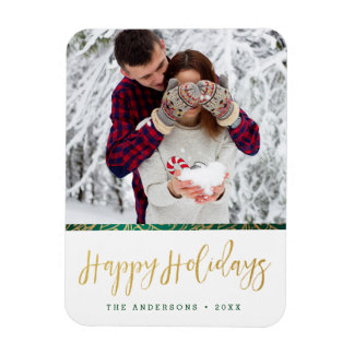 Green & Gold Ornate Happy Holidays Magnet