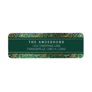 Green & Gold Ornate Happy Holidays Return Address Label
