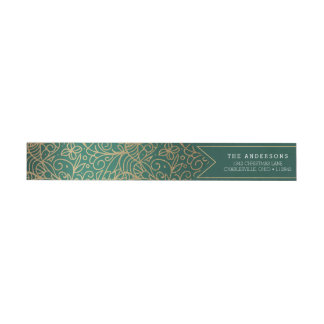 Green & Gold Ornate Happy Holidays Wrap Around Label