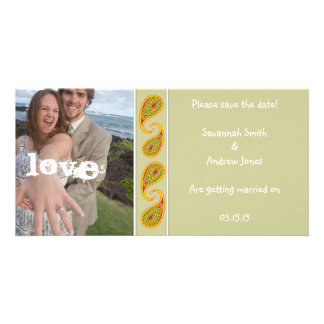 Green & Gold Paisley Save the Date  Your Photo Customised Photo Card
