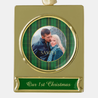 Green Gold Plaid Newlywed Gold Plated Banner Ornament