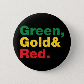 Green, Gold & Red. 6 Cm Round Badge