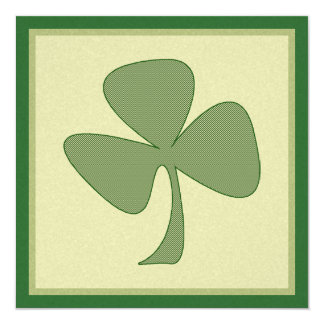 Green & Gold Shamrock 5.25x5.25 Square Paper Invitation Card