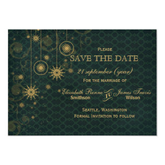 green gold Snowflakes Winter  save the date Card