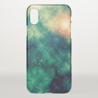 Green Gold Star Space Diffuse Nebula and Supernova iPhone X Case