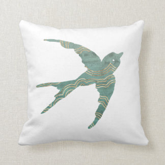 Green & Gold Swallow Cushion