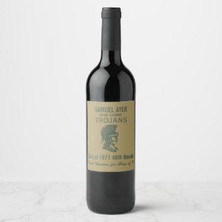 Green Gold Trojans 40th Class Reunion Wine Label
