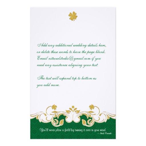 Green, Gold, White Scrolls, Shamrocks Stationery