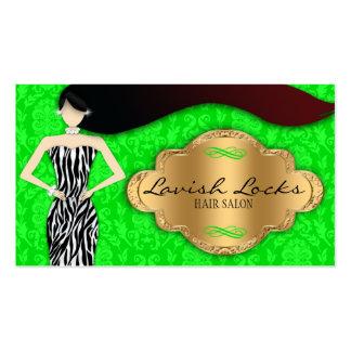 Green Gold Zebra Damask Hair Stylist Salon Business Cards