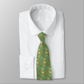 Green Golden Dollar Sign Tie
