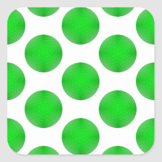 Green Golf Ball Pattern Square Stickers