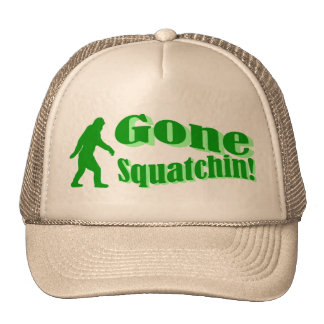 Green gone squatchin slogan text mesh hats