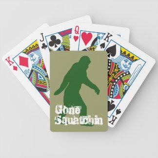 Green gone squatchin slogan text poker deck
