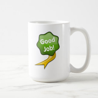 Green Good Job Ribbon Coffee Mugs