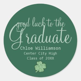 Green Good Luck Shamrock Custom Graduation Sticker