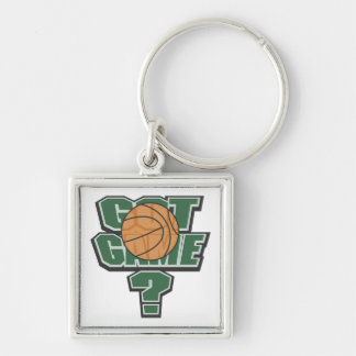 Green Got Game? T-shirts and Gifts Silver-Colored Square Key Ring