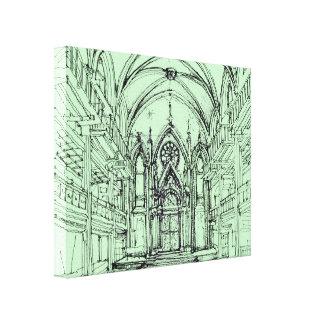 Green gothic Orensanz drawing Canvas Prints