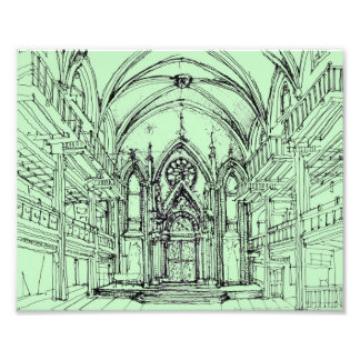 Green gothic Orensanz drawing Art Photo