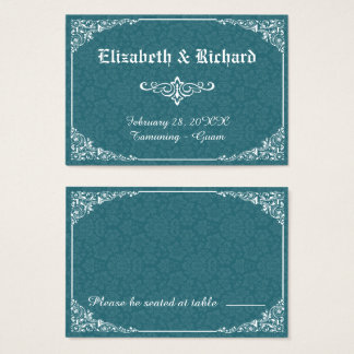 Green Gothic Victorian Damask Wedding Place Card