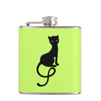 Green Gracious Evil Black Cat Hip Flask