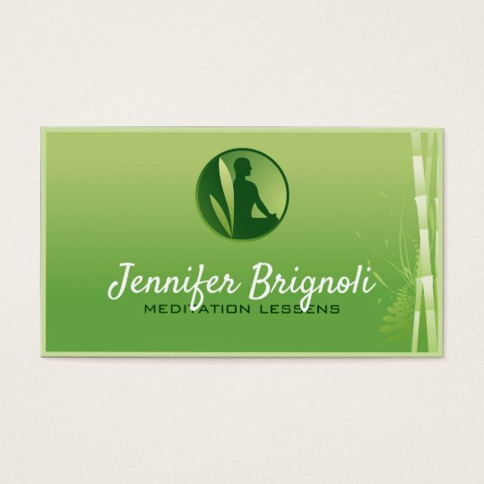 Green Gradient Bamboo Meditation Lessens Card