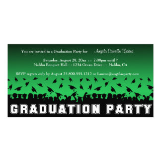 Green Gradient Graduation Party Silhouette Invite Customised Photo Card
