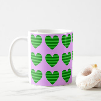Green Gradient Hearts Coffee Mug