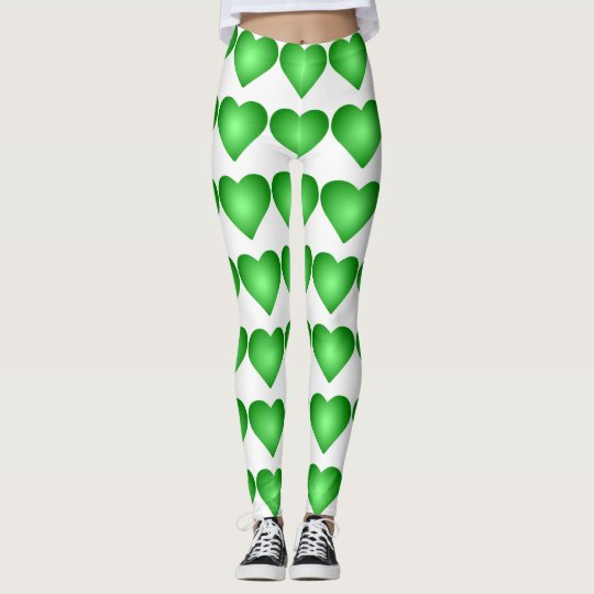 Green Gradient Hearts Leggings