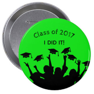 Green Graduation Cap Gown Cap Toss Personalized 10 Cm Round Badge