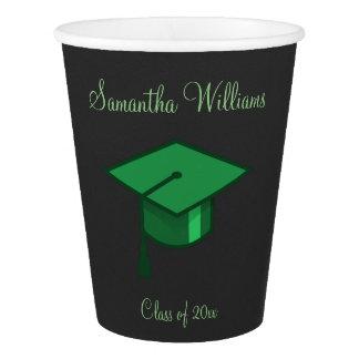 Green Graduation Cap Paper Cup