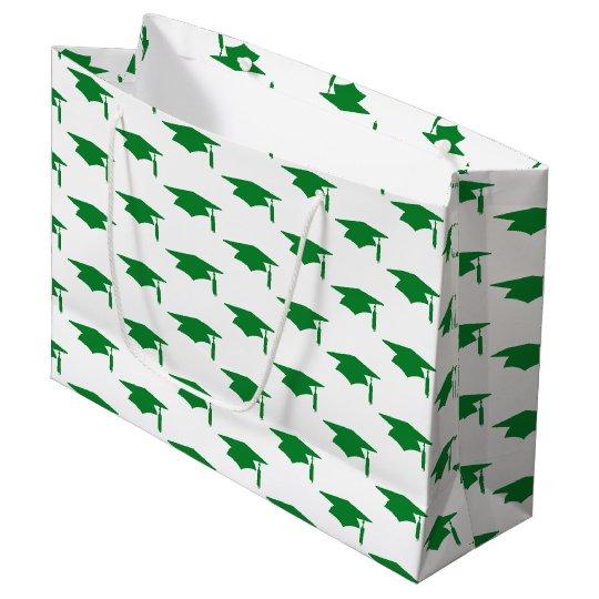 Green Graduation Caps Pattern - Graduation Large Gift Bag
