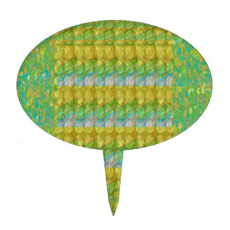 Green Graffiti Confetti n Crystal Bead Stone Patch Cake Picks
