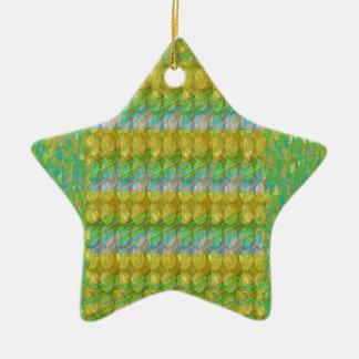 Green Graffiti Confetti n Crystal Bead Stone Patch Christmas Tree Ornament
