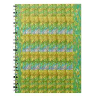 Green Graffiti Confetti n Crystal Bead Stone Patch Spiral Notebook