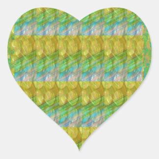 Green Graffiti Confetti n Crystal Bead Stone Patch Heart Sticker