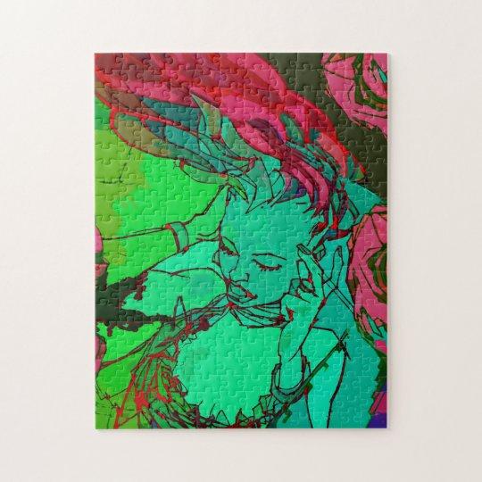 Green graffiti girl jigsaw puzzle