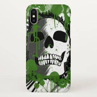 Green graffiti skull art iPhone x case