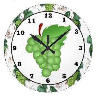 green grape kitchen wall clock