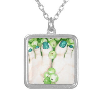 Green Grapes and Pedicure Silver Plated Necklace